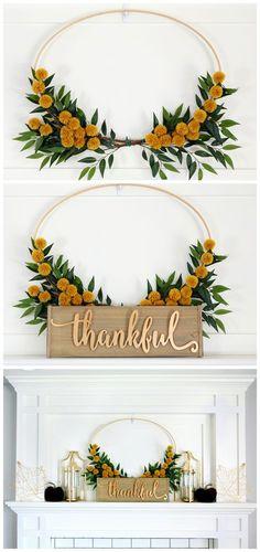 Pretty Fall Mantel - DIY Fall Mantel with Embroidery Hoop Wreath