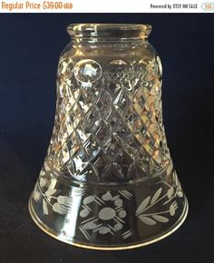 SALE Light Shade Clear Pressed  Glass by TreasureofMemories