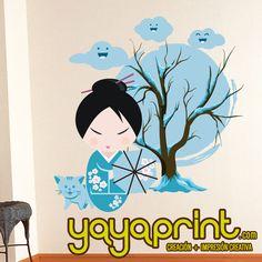 http://tienda.yayaprint.com Muñecas japonesas. Japanese dolls, vinilo decorativo, vinilo de pared, sticker, pegatina, geisha, japon, oriental, kimono, wall decals, decorative wall vinyls, room decoration, cute, girl, kwai, http://carlosnieto.com Asian,
