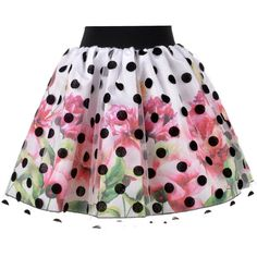 Love Made Love - Floral Skirt with Polka Dot Tulle ($150) ❤ liked on Polyvore featuring skirts, layered tulle skirt, floral knee length skirt, elastic waist skirt, floral printed skirt and flower print skirt