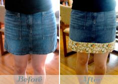 denim skirt *i wonder if you could lengthen a skirt with a tie hmmm Redo Clothes, Sewing Clothes, Diy Upcycling, Repurposing, Sewing Alterations, Do It Yourself Fashion, Diy Clothing, Denim Skirt, Maong Skirt