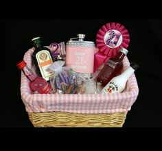 Classy 21st birthday basket gift for girl