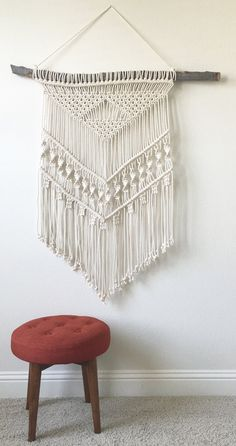 Macrame Wall Hanging on Wood by getknottywithkelly on Etsy
