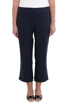 7/8 Linen Pants - Designer Women's Clothes Online
