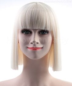 Halloween Party SIA White Wig Small Costume Cosplay Onlin...