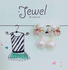 libitum jewel♡ libi022  ピンクパールがふんわり揺れるキュートアイテム ピアス・イヤリング/ビジューのカラーはカスタム可能