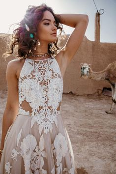 Dramatic, eclectic and effortlessly cool, boho brides will love Wild Heart the new collection of Rue De Seine wedding dresses. Western Wedding Dresses, Bohemian Wedding Dresses, Dream Wedding Dresses, Bridal Dresses, Wedding Gowns, Maxi Dresses, Floral Wedding, Evening Dresses For Weddings, Lace Weddings