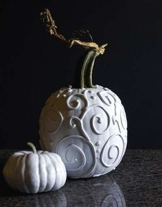 Caulk It            Is regular paint too two-dimensional for you? Use caulk to put a 3-D design on the gourd of your choice. Once the caulk dries, spray-paint for a unique pumpkin that looks professionally decorated!