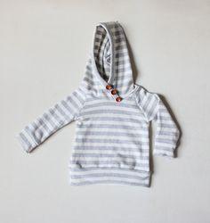 handmade baby raglan hoodie / sweatshirt with button placket // custom order size and color. $34.99, via Etsy.