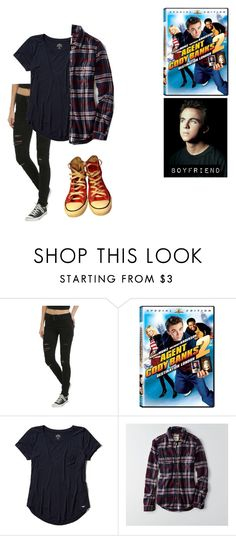 """me in: 'agent cody banks 2'"" by j-j-fandoms ❤ liked on Polyvore featuring Hollister Co., American Eagle Outfitters and Converse"