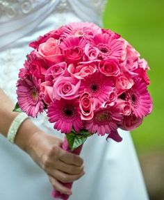 pink wedding flowers, pink and whit polka dot ribbon.