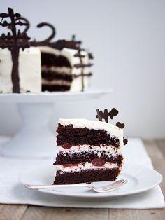 Když jsem si letos vymýšlela dort k narozeninám, měla jsem v hlavě už pár týdnů kousek, který jsem viděla u coolinářů - dort z temného lesa, u nás známý jako schwarzwald a v Americe jako black forrest