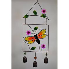 Great World Bumble Bee Stained Glass Hanger with Bells - 702103