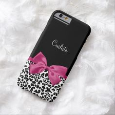 A trendy black and white leopard print slim #iPhone6case with a vivacious hot pink ribbon tied into a cute girly bow. Personalize this chic and stylish animal pattern design by adding the name of your teen girl.