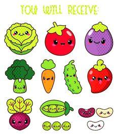 Kawaii vegetables clipart, kawaii veggies clipart, healthy food clipart, cute vegetables clipart, be Fruits Kawaii, Griffonnages Kawaii, Cute Food Drawings, Kawaii Drawings, Easy Drawings, Vegetable Drawing, Stickers Kawaii, Images Kawaii, Food Clipart