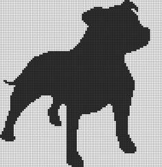 Alpha Friendship Bracelet Pattern added by puppydog. Cross Stitching, Cross Stitch Embroidery, Embroidery Patterns, Pitbull, Cross Stitch Charts, Cross Stitch Patterns, Staffy Dog, Cross Stitch Silhouette, Graph Paper Art