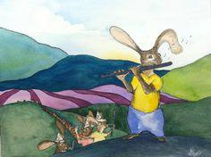 illustration, pied piper, rabbit, flute class, swannanoa, watercolor, kidlitart