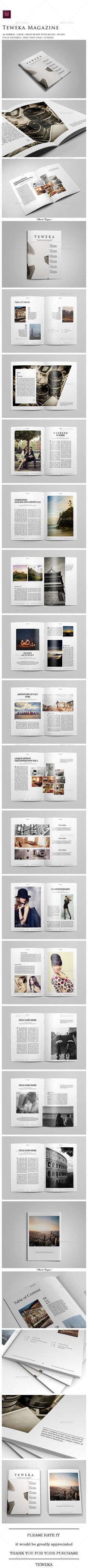 Teweka Magazine by Teweka Teweka Magazine Files Included :30 Pages A4 .idml format for Indesign CS 4 or higher .indd format for Indesign CS 6 and CC PDF P