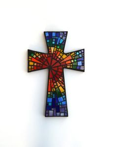 "Mosaic Wall Cross - Large - Black with Rainbow Glass ""Blessed"" Handmade Stained Glass Mosaic Cross Wall Decor x by Dana Hess, Mosaic Artist @ The Green Banana Mosaic Company Mosaic Wall, Mosaic Glass, Mosaic Tiles, Mosaics, Stained Glass, Mosaic Crosses, Wall Crosses, Mosaic Company, Mosaic Art Projects"