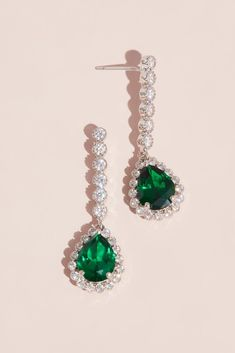 Timeless earrings featuring brilliantly blue pear-shaped cubic zirconia dangling from strands of twinkling crystals. Cubic zirconia, brass, rhodium L Imported Emerald Green Earrings, Emerald Jewelry, Bridal Earrings, Crystal Earrings, Drop Earrings, Prom Jewelry, Wedding Jewelry, Pear Drops, Homemade Jewelry