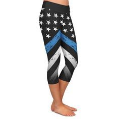 Honor the police officers in your life, and bring home these Thin Blue Line leggings today!
