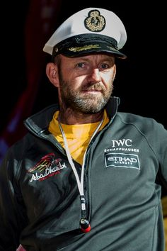 Ian Walker, skipper Abu Dhabi Ocean Racing, wearing his birthday captain hat, celebrates second place of Leg 4 from Sanya to Auckland.