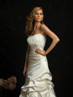 Brilliant Strapless slim A-line Gown Chapel Train Ruched Wedding Dress Wedding Dresses Canada, Wedding Dresses For Sale, Bridal Wedding Dresses, Cheap Wedding Dress, Wedding Dress Styles, Bridesmaid Dresses, Bridal Sash, Bridal Belts, Wedding Sash