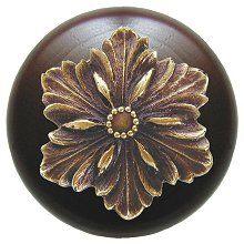 Opulent Flower Wood Knob in Antique Brass/Dark Walnut wood finish…