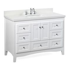 Abbey White Bathroom Vanity (Carrara/White): Includes Soft Close Drawers and Doors, and Rectangular Ceramic Sink 42 Inch Vanity, 42 Inch Bathroom Vanity, Bathroom Vanity Decor, Bathroom Red, Small Bathroom Vanities, Bathroom Furniture, Vanity Set, Bathroom Ideas, Bathroom Cabinets
