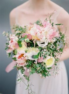 Wedding Bouquets - blush and a darker forrest green!