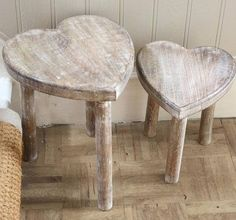 Two Wooden Heart Stools Shabby Chic Style Heart Nest Of Side Tables Heart Table Vibeke Design, Wooden Hearts, Shabby Chic Style, Wood Pallets, Wood Art, Diy Furniture, Plywood Furniture, Unique Furniture, Painted Furniture