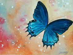Suriname butterfly painting by Lisa Schmidt, acryl on canvas Redhead Art, Butterfly Painting, Schmidt, Vibrant, Watercolor, Canvas, Oil Paintings, Artist, Lisa