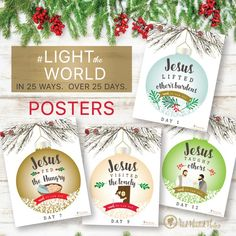 Free #LIGHTtheWORLD posters by The Red Headed Hostess.  GREAT ideas to help your family have a Christ-centered Christmas!