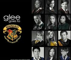 Love when they mix up Harry Potter and Glee! Although I believe Puck is a Gryffindor, Mike is a Griffindor, and Rachel is a Slytherin