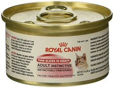 ROYAL CANIN FELINE HEALTH NUTRITION Adult Instinctive thin slices in gravy canned cat food, 3-Ounces, 24-Pack - Royal Canin Adult Instinctive is formulated to provide your adult cat with an appealing formula they will enjoy at each feeding, also features a moderate energy level to help maintain your adult cat's ideal weight. Instinctively preferred by utilizing Macro Nutrient Profile science, Royal Canin h...