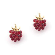 8e1156a28 Bill Skinner - Raspberry Studs Black Crystals, Raspberry, Strawberry,  Statement Jewelry, Contemporary