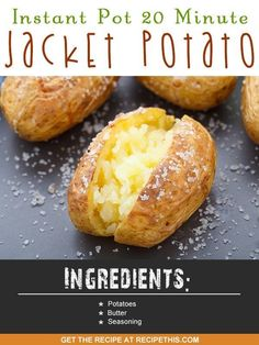 Instant Pot | Instant Pot 20 minute jacket potatoes recipe from RecipeThis.com