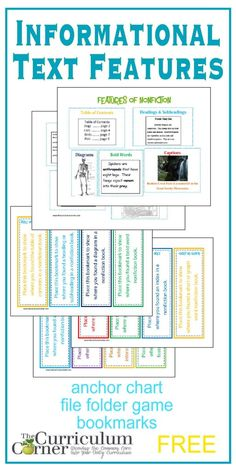Informational Text Features | Anchor Chart | File Folder Game | Bookmarks | FREE from The Curriculum Corner