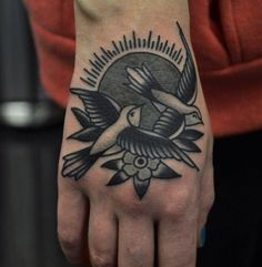 Swallows. Flowers & sun. Black and gray tattoo. - 45+ Eye-Catching Tattoos on Hand <3 <3