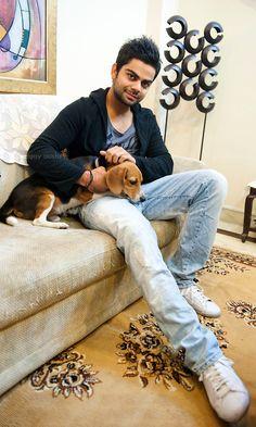 Virat Kohli and his dog   Veethi - and u love beagles! come here ...I want u