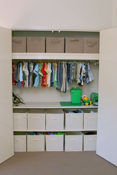 Kid's Closet Organization.  Closet dividers would be a great addition too! http://tidynirvana.fcorgp.com/nirvana/category/prod450016/TN-Closet/Closet-Dividers-Set-by-O.R.E.-Originals?skuId=39339  #closetorganization