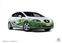 GREEN FLAMES, Seat Leon Ecomotive, Atletico International, Seat, Print, Outdoor, Ads