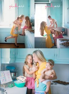 Mom and babes, baking cookies!  How many of you absolutely LOVED to help your mom bake and cook when you were kids?  Think of all the messy fun memories you could make :)