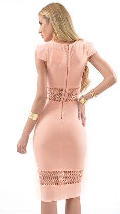 This #MissHolly peach dress is stunning! Pair it up with heels and earrings for a flawless evening look.