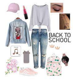 """Back To School"" by ribeeirotelminha on Polyvore featuring adidas Originals, Pusheen, Mminimal, MAC Cosmetics, Chicnova Fashion and Olivia Burton"
