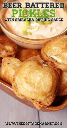Beer Battered Fried Pickles - The Cottage Market : Beer Battered Fried Pickles - The Cottage Market Looking for a yummy treat! A snack for a big game or special tv show or movie? How about trying Beer Battered Fried Pickles Finger Food Appetizers, Yummy Appetizers, Appetizer Recipes, Snack Recipes, Cooking Recipes, Beer Recipes, Protein Recipes, Cooking Food, Potato Recipes
