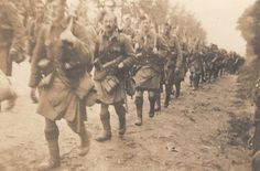 Scottish Troops, 51st Highland division, marching to the front, WWI