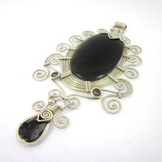 Obsidian Necklace, Obsidian Jewelry, Obsidian Pendant, Obsidian Wire Pendant, Inca by LeviathanJewelry on Etsy https://www.etsy.com/listing/230570213/obsidian-necklace-obsidian-jewelry