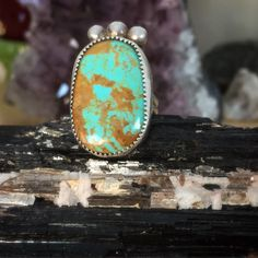 Vintage Navajo ring, by James Harrison... Sterling silver and a fabulous Royston Turquoise cabochon. Size 5 sugardrawers.etsy.com Turquoise Rings, Turquoise Bracelet, James Harrison, Ring Bracelet, Bracelets, Navajo Jewelry, Southwestern Jewelry, Hand Stamped Jewelry, Native American Jewelry