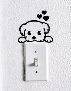 $4.99 Cute Dog Baby Pet light switch wall decal  by dadavinylsanddesigns